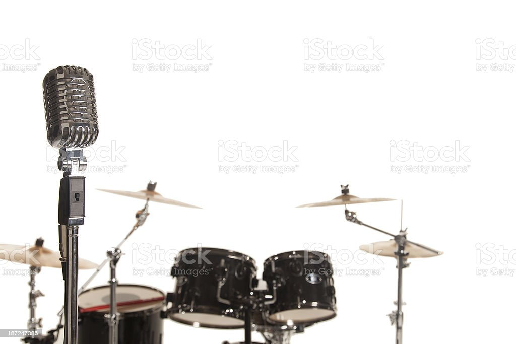 Drums with a microphone in front view. royalty-free stock photo