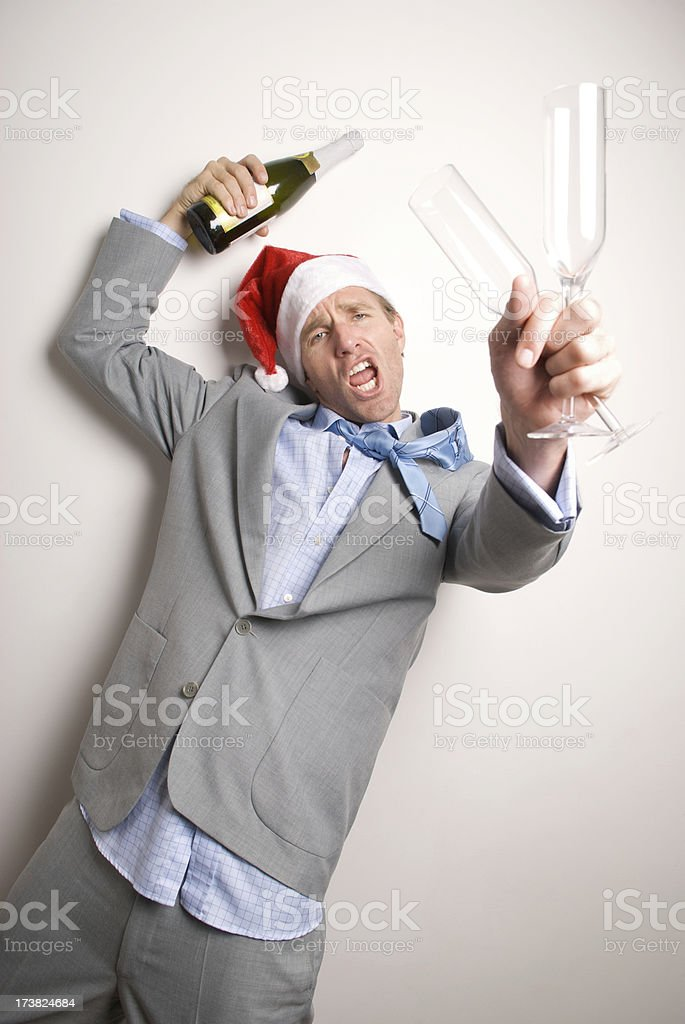 Drunk Businessman Makes Holiday Toast at Office Party royalty-free stock photo