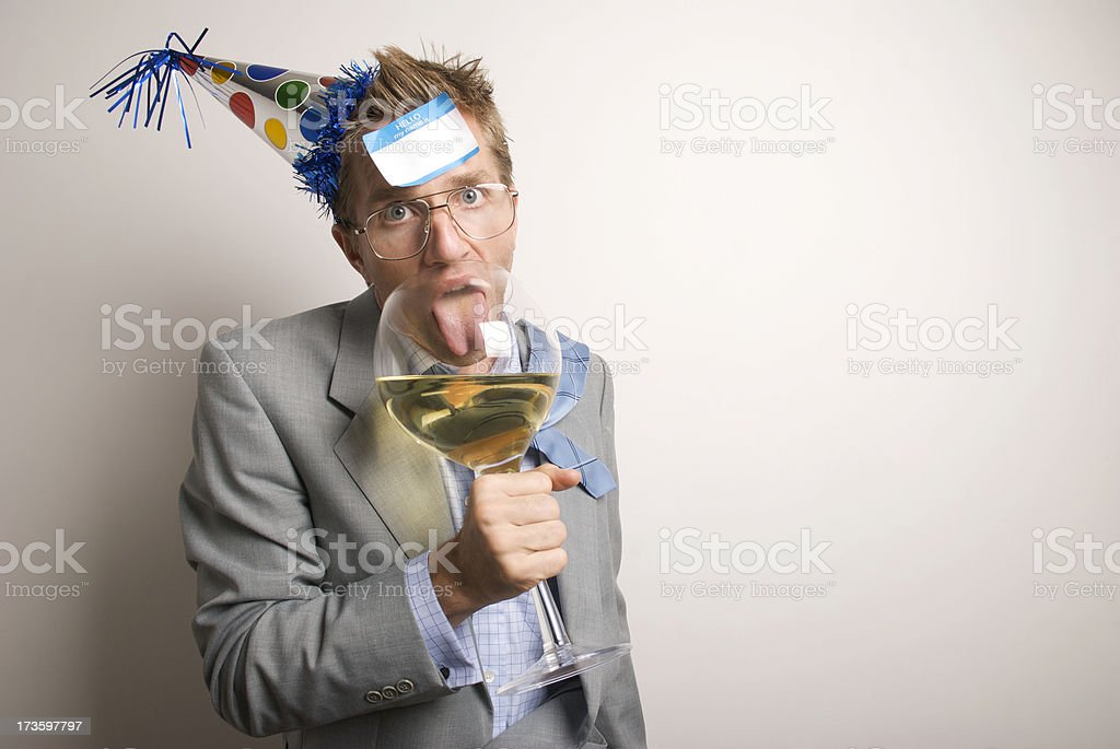 Drunk Businessman Office Worker Licks Big Wine Glass royalty-free stock photo