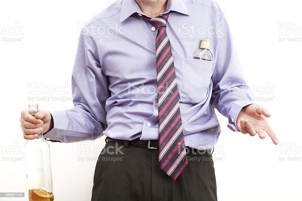 Drunk businessman with alcohol problem royalty-free stock photo
