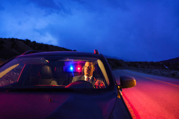 Drunk Driving Man Being Pulled Over by Police stock photo