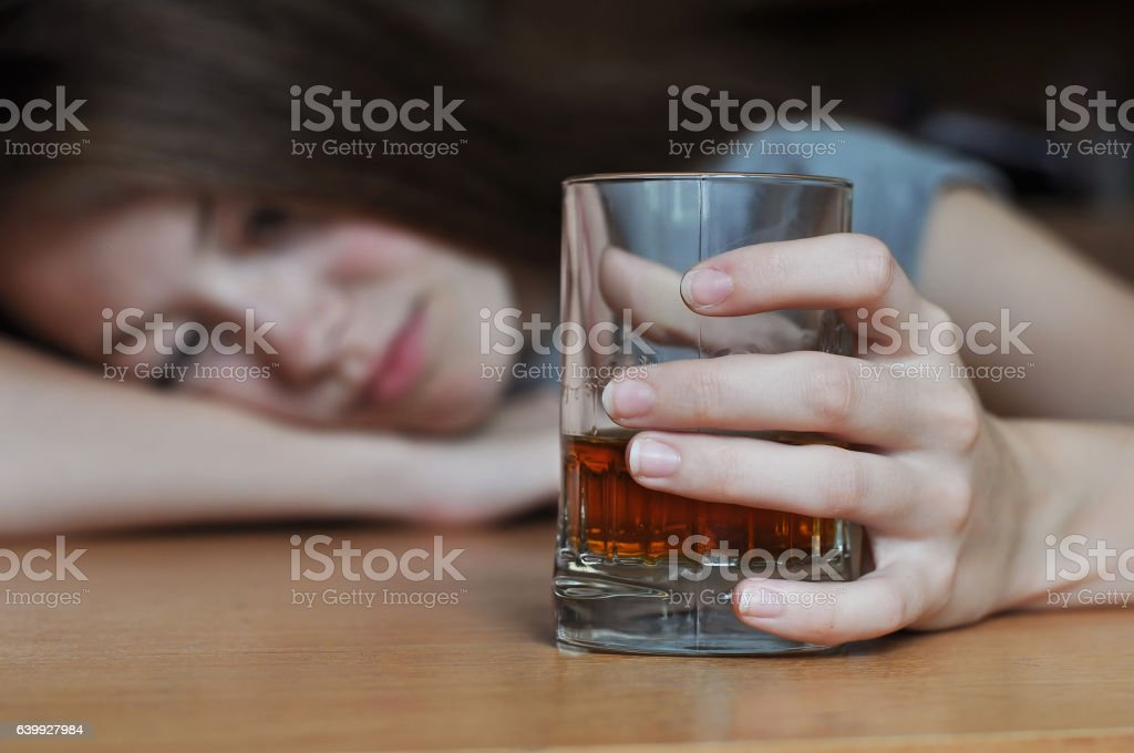 Drunk female addict - Royalty-free Abuse Stock Photo