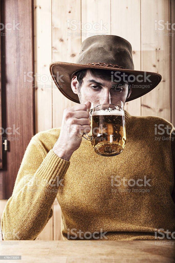 Drunk Man Drinking Beer royalty-free stock photo