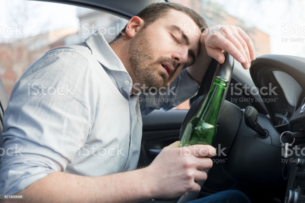 Drunk Man Driving Car And Falling Asleep Stock Photo More Pictures