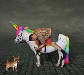 Drunk man on the unicorn and his dog