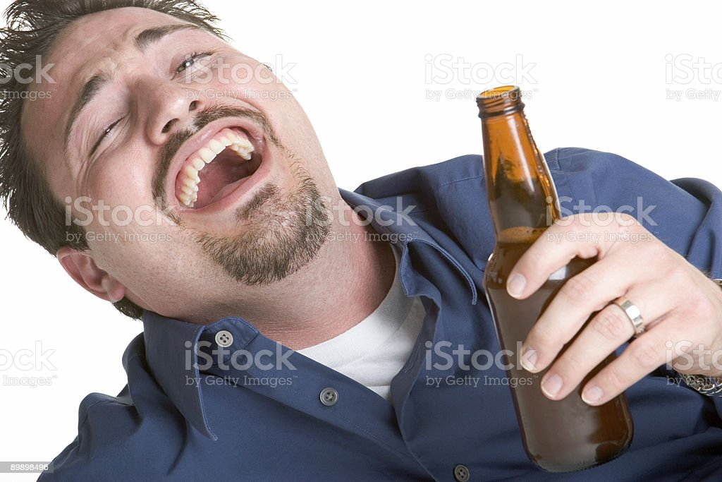 Drunk man with beer royalty free stockfoto