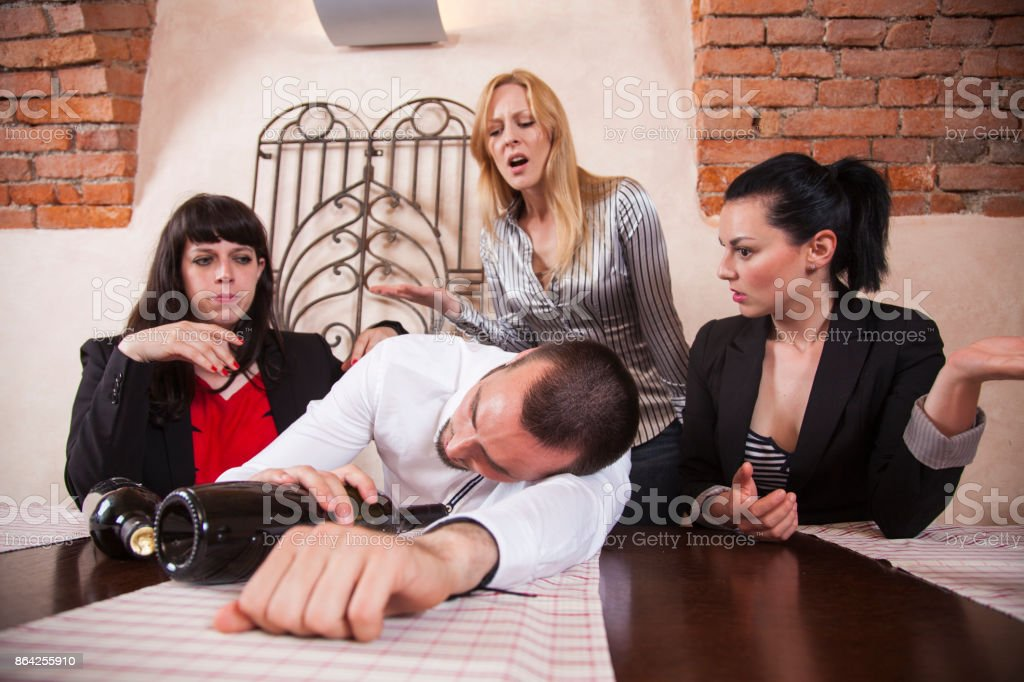 Drunk men at a company party royalty-free stock photo