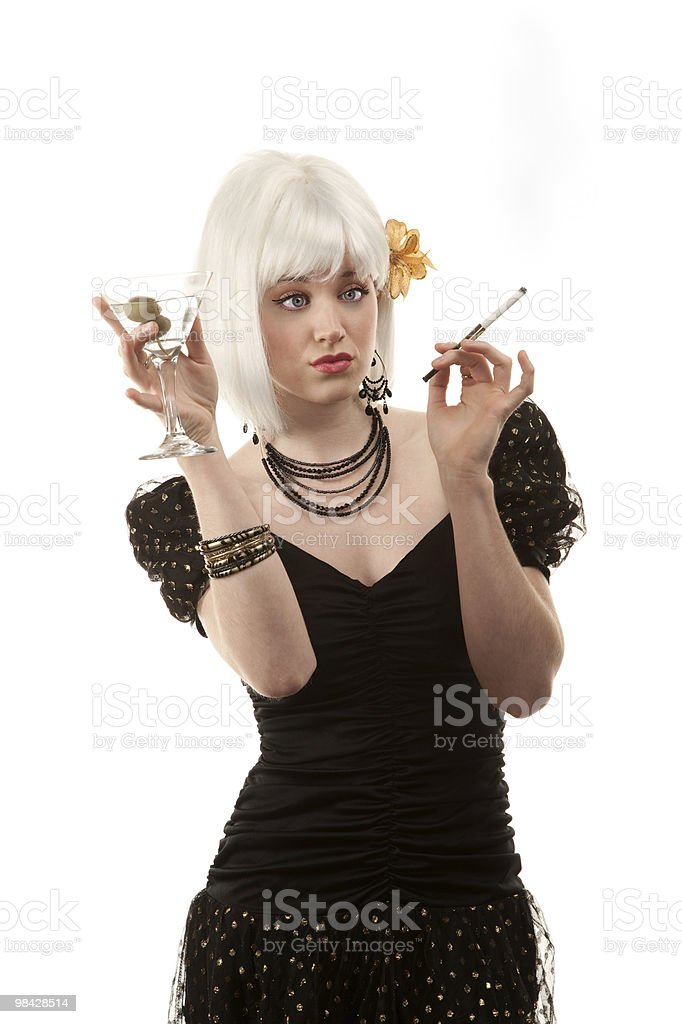 Drunk retro woman with white hair royalty-free stock photo