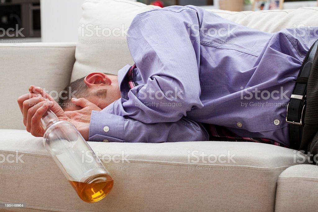 Drunk sleeping businessman royalty-free stock photo