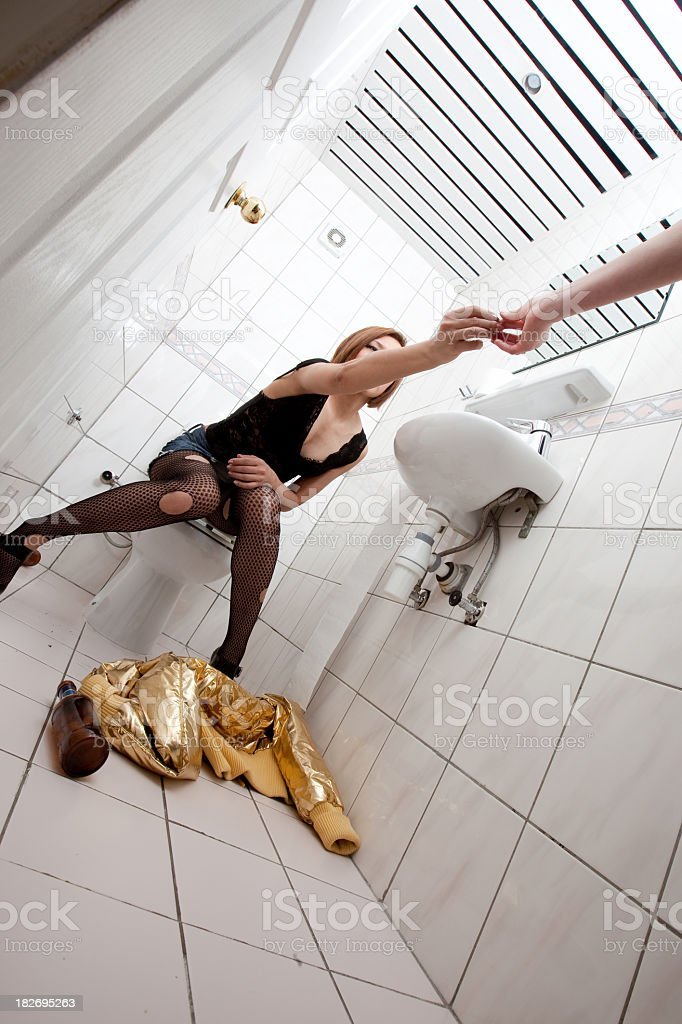 Drunk Woman In Toilet Drug Connection Stock Photo - Download