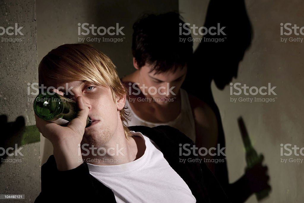 Drunk young men stock photo