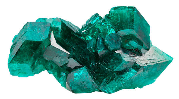 druse of emerald-green crystals of dioptase stock photo