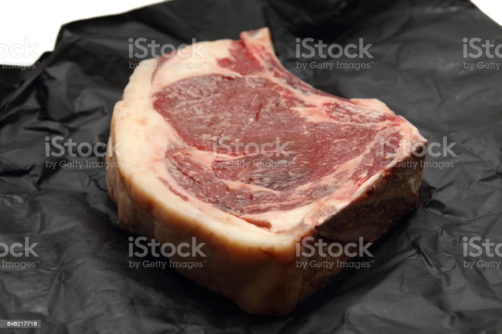 dry aged steak stock photo
