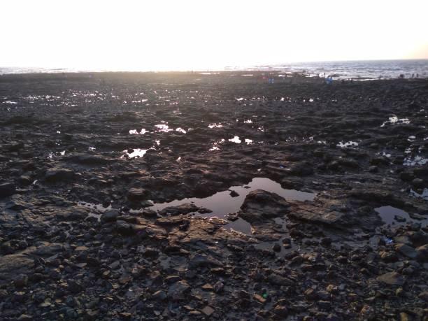 dry beach. mumbai marine drive beach  facing problem of water in summer. - tap water zdjęcia i obrazy z banku zdjęć