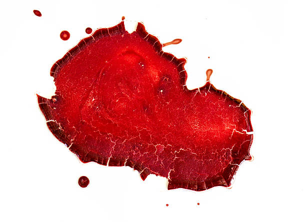 dry blood on  white background stock photo