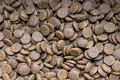 Pile of dry cat food. Dry pet food pattern / background / texture