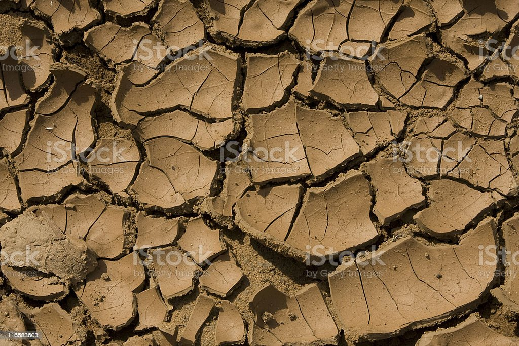 Dry Brown Cracked Earth, Arid Environment, Climate Change, Pattern, Background royalty-free stock photo