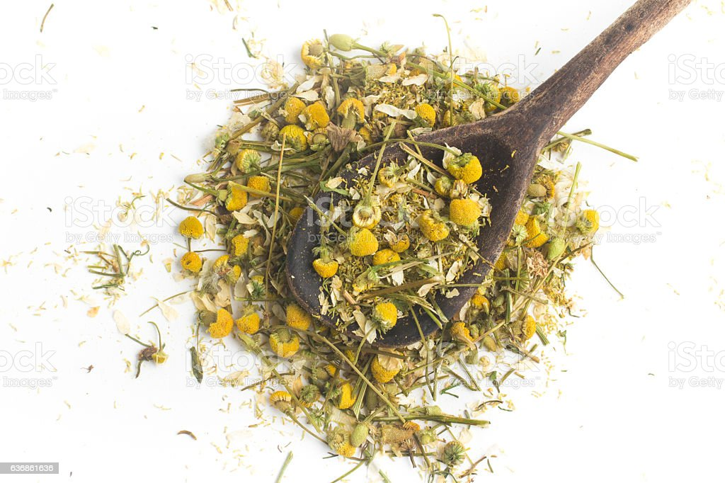 Dry Camomile Tea into a spoon stock photo