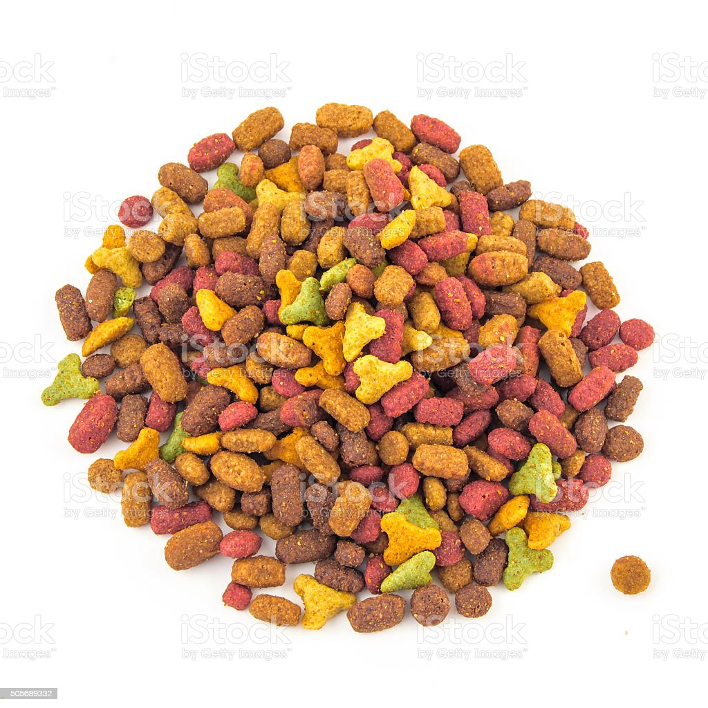 dry cat food on a white background stock photo