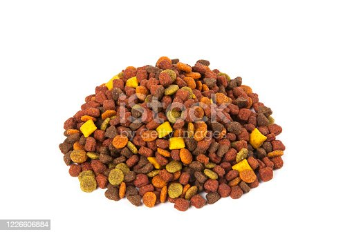 Dry cat food on white background