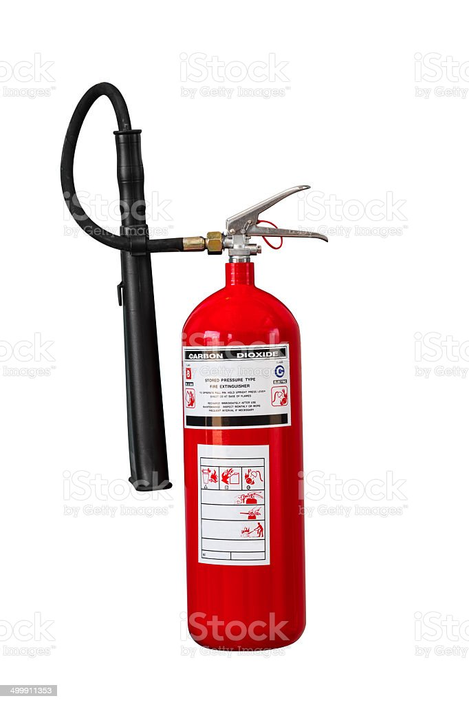 Dry chemical fire extinguisher on white background stock photo