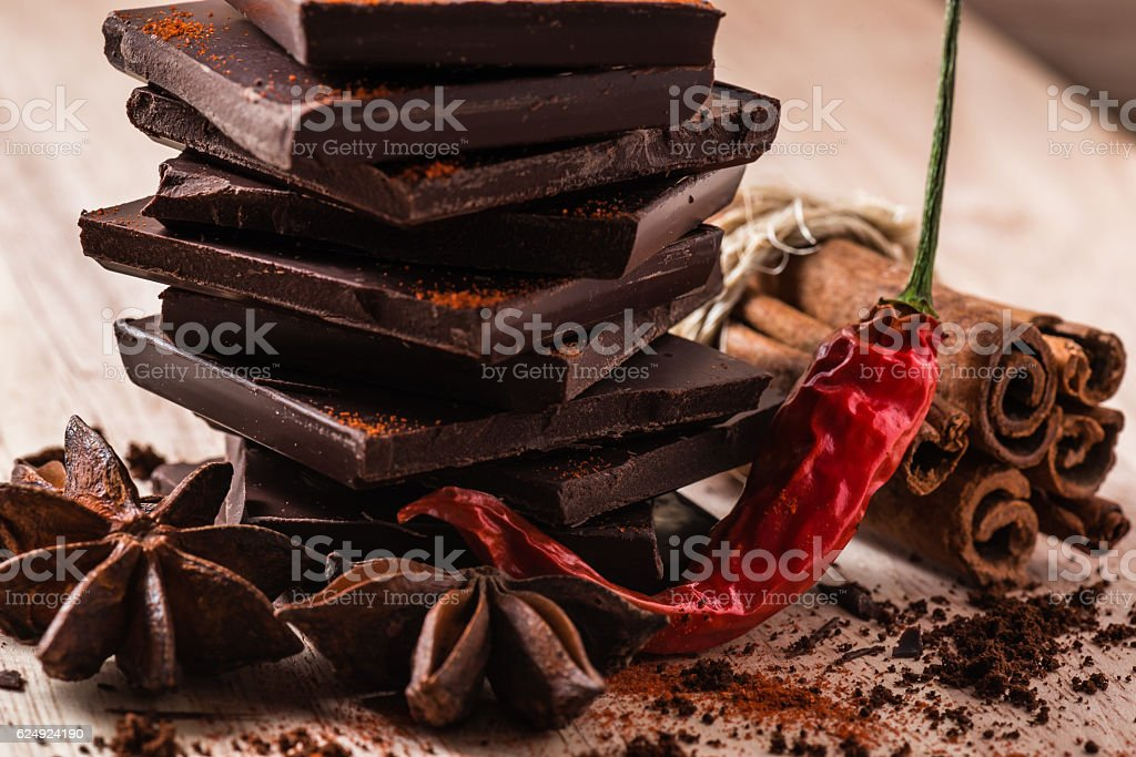 Dry Chili Pepper with Chocolate and Condiments stock photo
