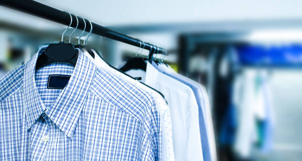 Dry clean Man's wear, businessman, shirts, dry clean coathanger stock pictures, royalty-free photos & images