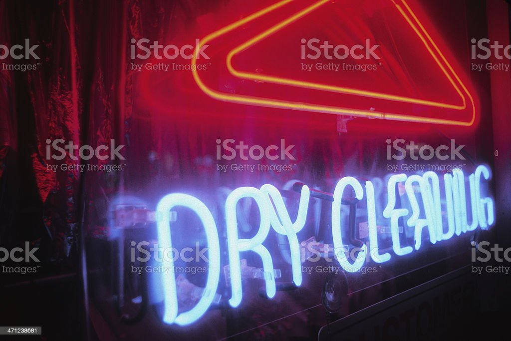 Dry Cleaning - Neon Sign at Night stock photo