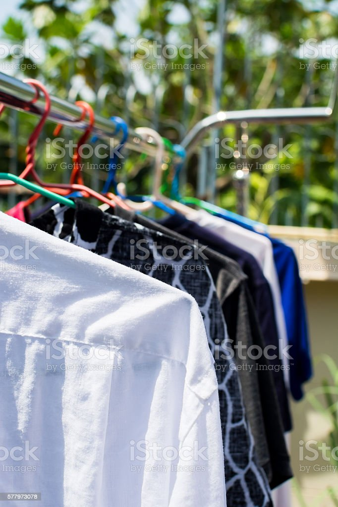 Dry clothes in the sun stock photo