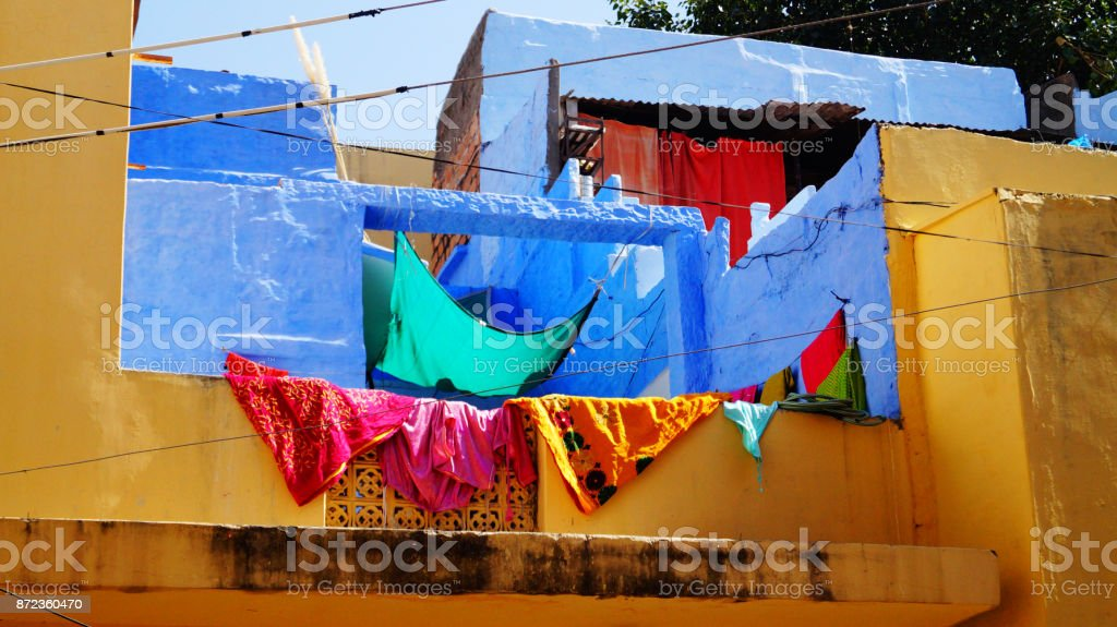 Dry clothes near the wall on the roof. Jodhpur India. Background. stock photo
