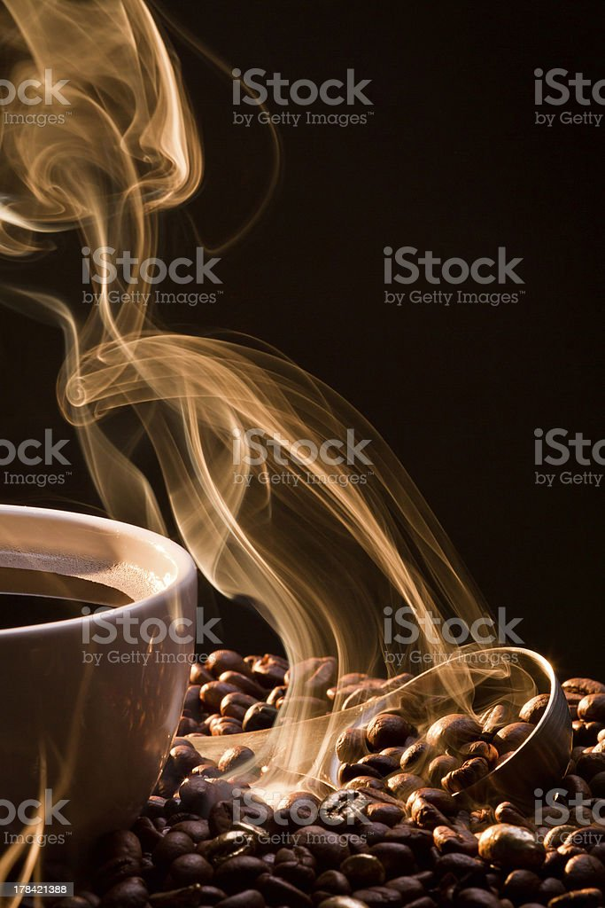 Dry coffee with golden smoke.