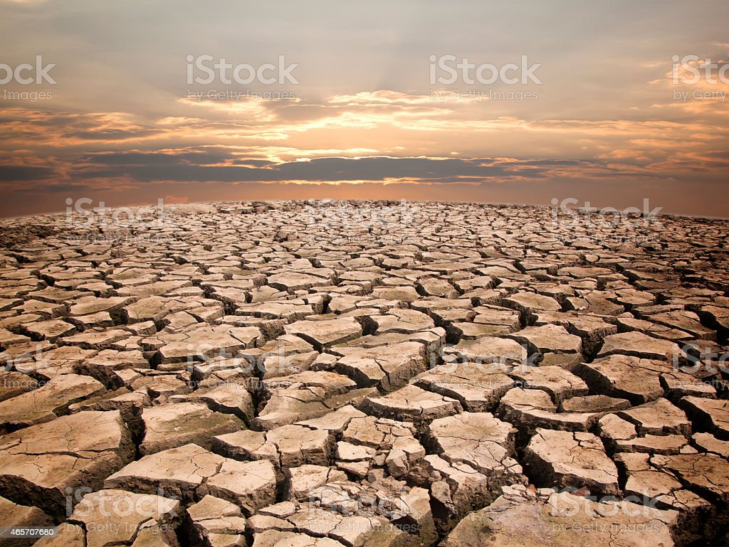 Dry cracked earth view to horizon in drought against sunrise stock dry cracked earth view to horizon in drought against sunrise royalty free stock photo sciox Images