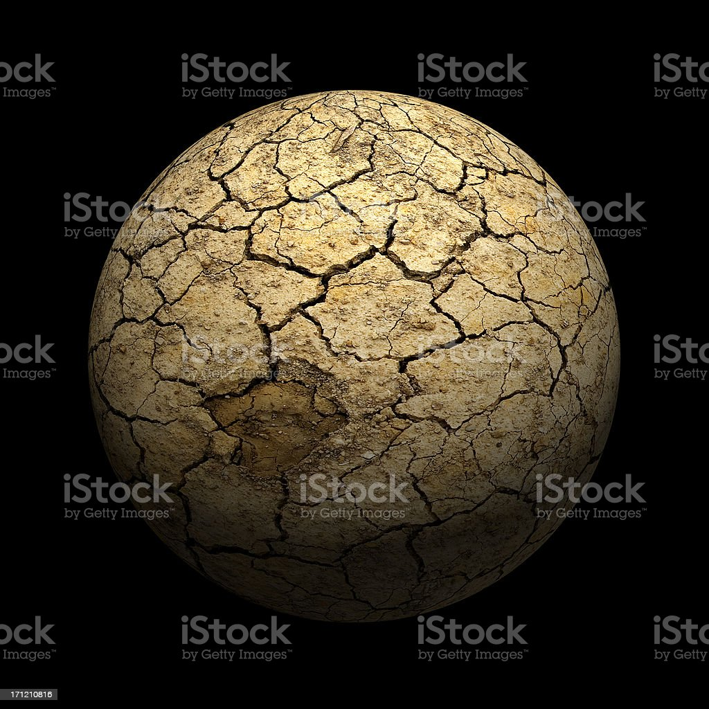 A dry cracked mud sphere on black background stock photo