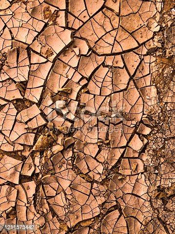 istock Dry Cracked Soil Texture 1211573442