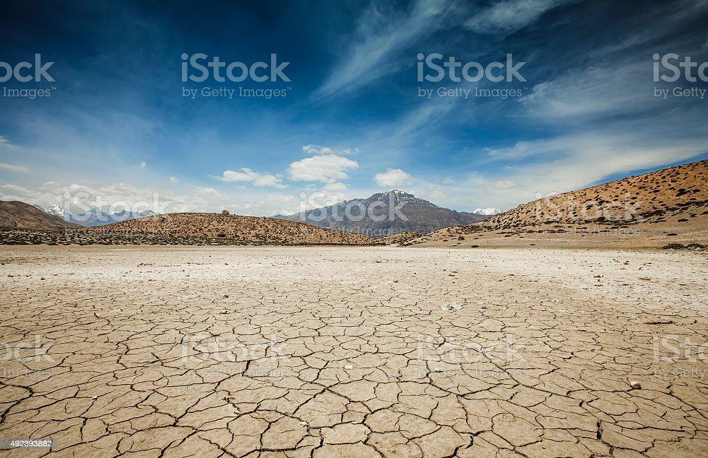 Dry Dhankar lake Dry Dhankar lake in Himalayas mountains. Spiti valley, Himachal Pradesh, India 2015 Stock Photo