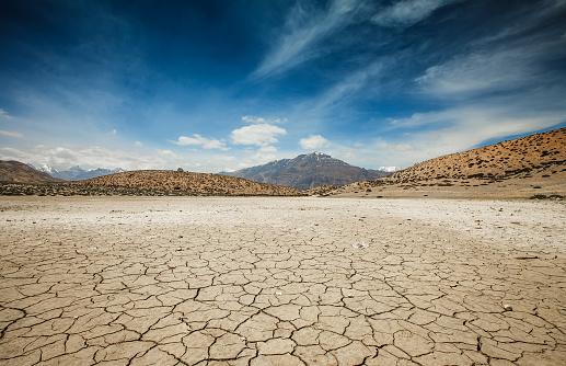Dry Dhankar lake in Himalayas mountains. Spiti valley, Himachal Pradesh, India