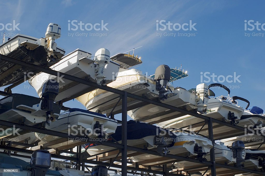 Dry dock boat racks royalty-free stock photo