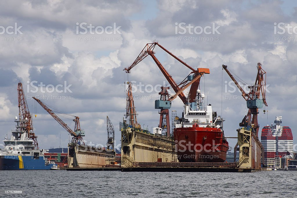 Dry dock in Gothenburg industrial harbour stock photo