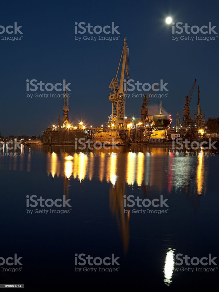 Dry dock in the shipyard royalty-free stock photo