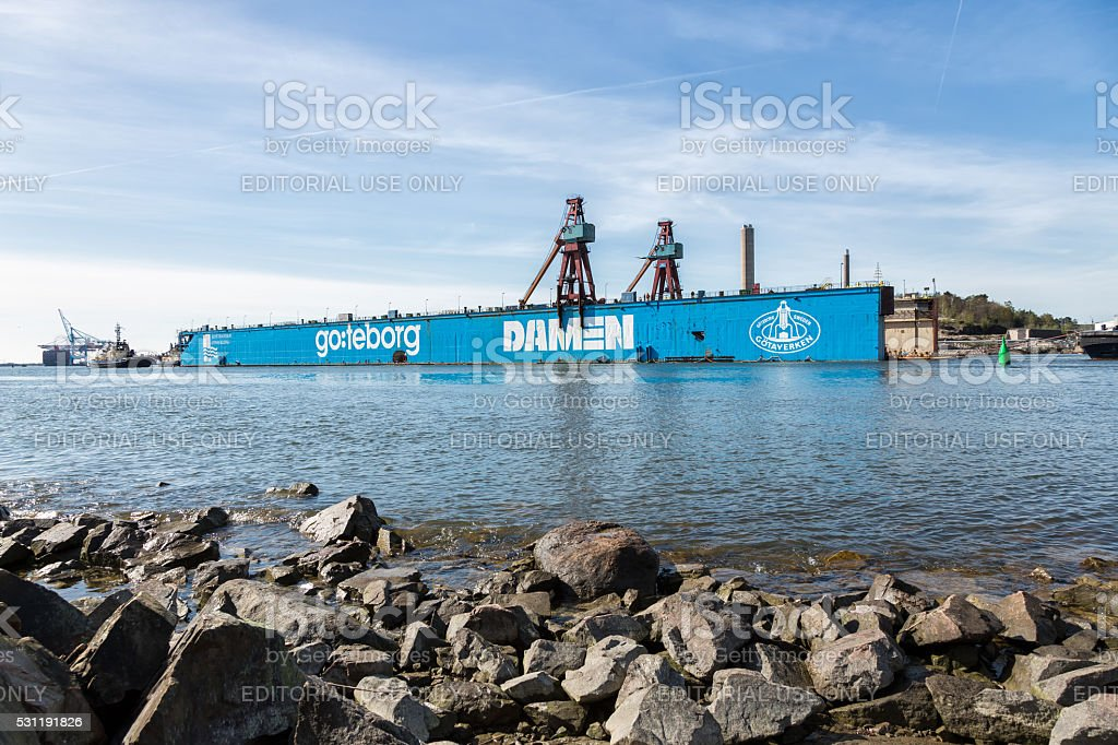 Dry dock leaves after long service in Gothenburg. stock photo