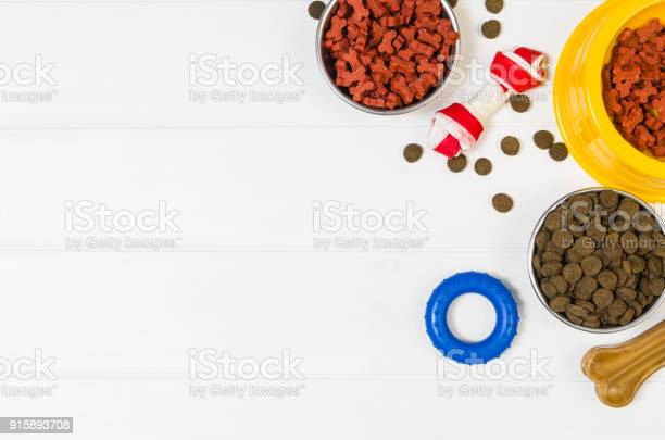 Dry dog food and accessories on white background top view picture id915893708?b=1&k=6&m=915893708&s=612x612&h=jljip oublilxue8jji7rmmzrohfljechfcryokdxwa=