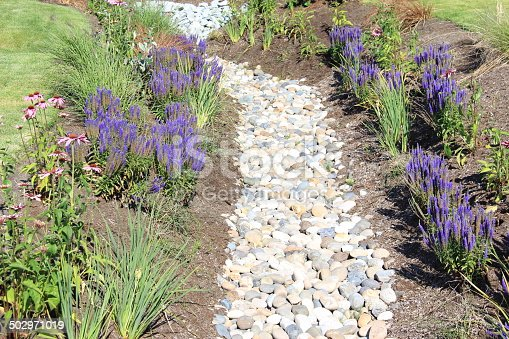 A horizontal image of a dry drainage ditch that is landscaped into a garden to appeal to the eye and will drain in the rainy season.