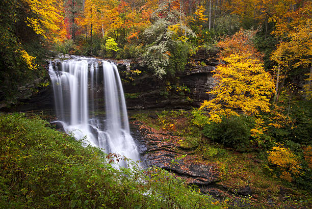 Dry Falls Autumn Waterfalls Highlands NC Forest Fall Foliage Dry Falls Autumn Waterfalls Highlands NC Forest Fall Foliage in Cullasaja Gorge Blue Ridge Mountains blue ridge mountains stock pictures, royalty-free photos & images