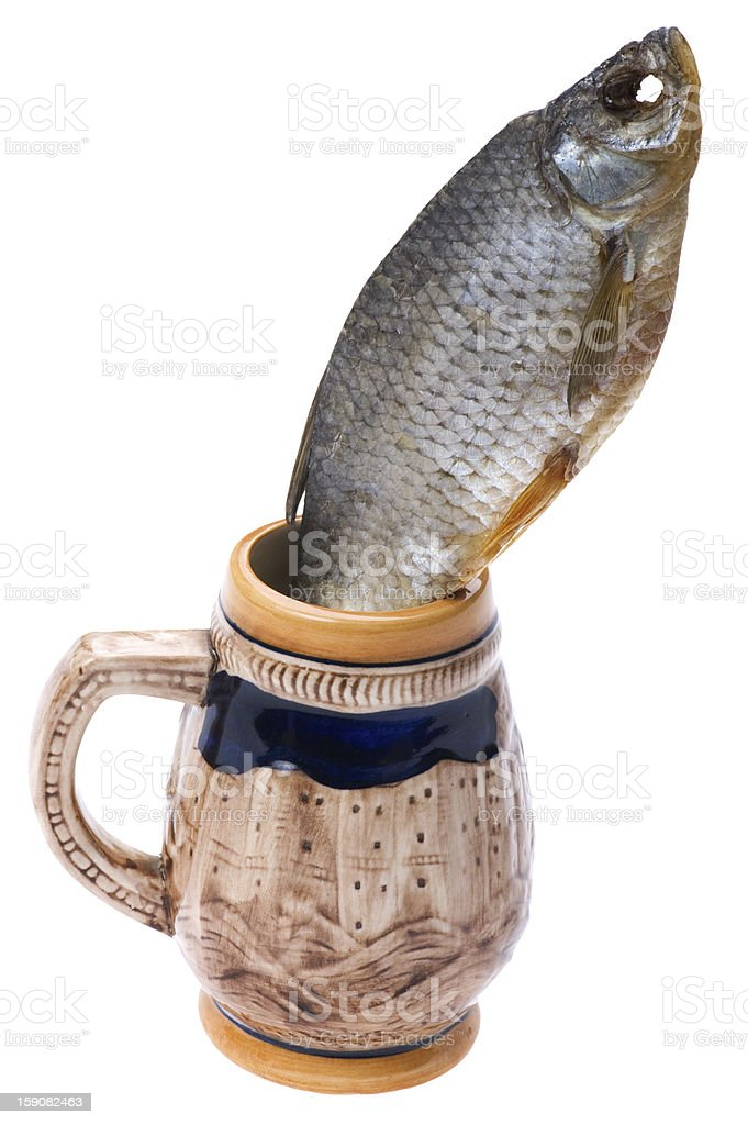 dry fish with cup of beer macro royalty-free stock photo