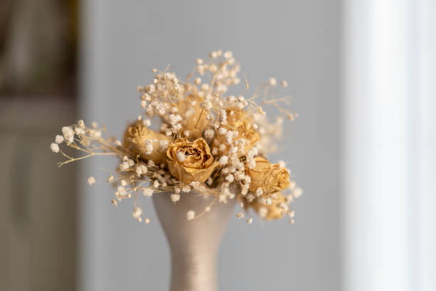 dry flowers bouquet on vase selective focus view stock photo