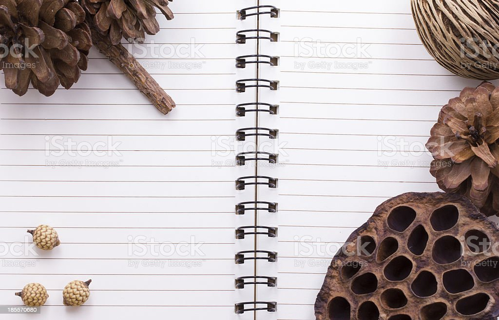 Dry flowers frame on Spiral Bound Notebook royalty-free stock photo