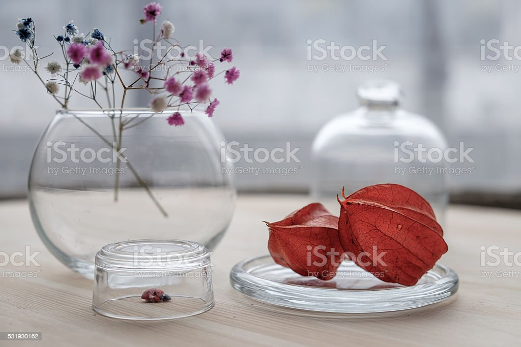 dry flowers on table stock photo