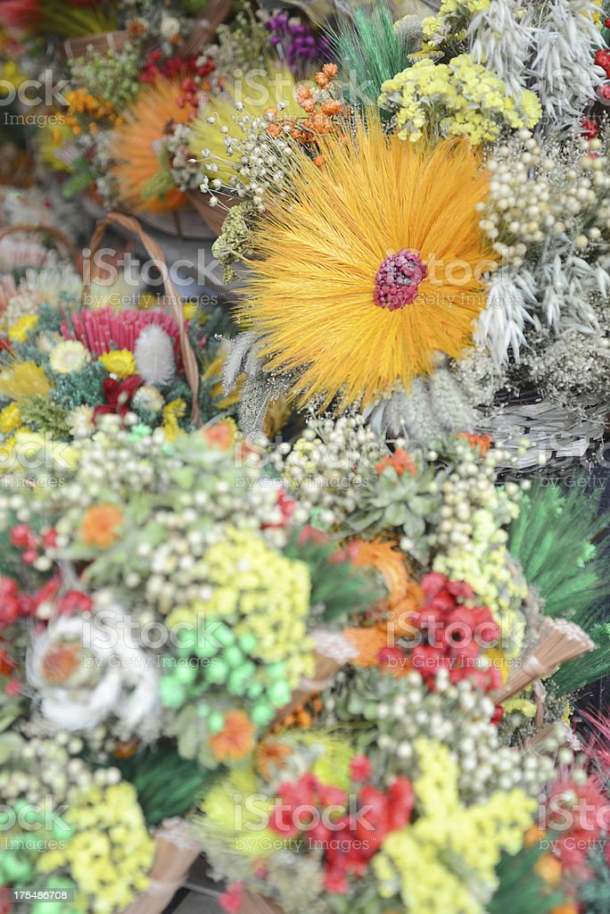 Dry Flowers with Orange Ears One royalty-free stock photo