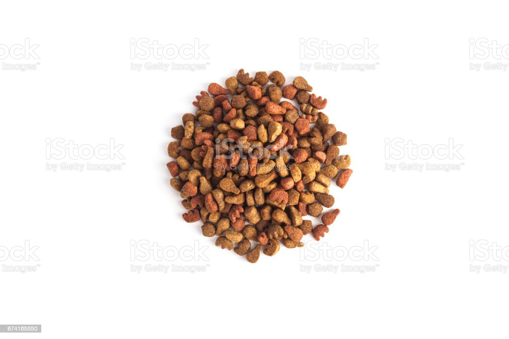 Dry food for dog and cat, isolated on white background stock photo