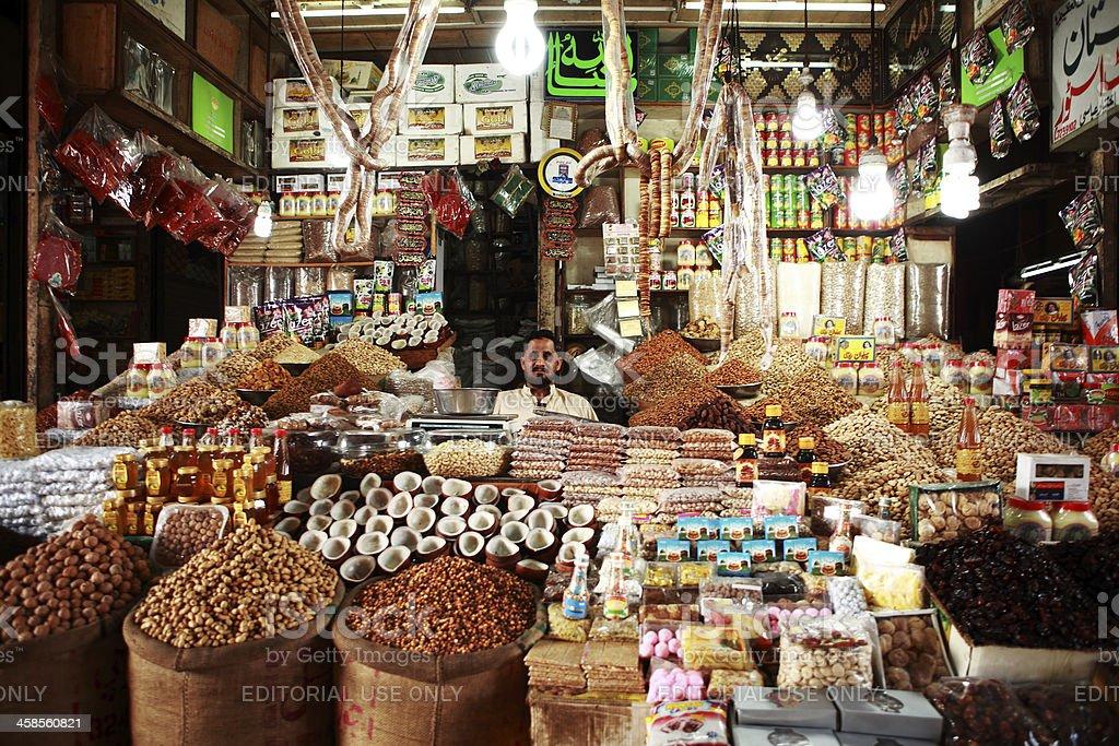 Dry Fruit Shop in Empress Market, Karachi Pakistan stock photo